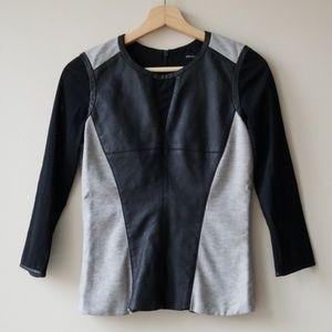 Karen Millen Faux Leather Mesh Sleeves Blouse Top